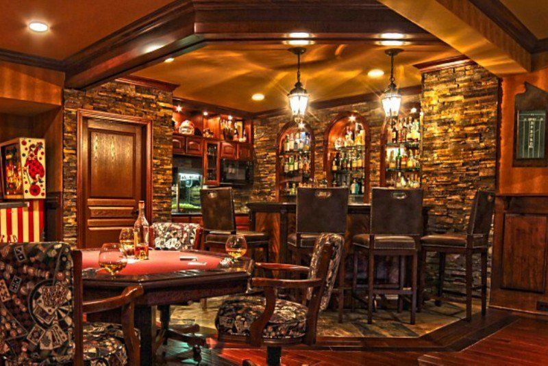 Superb Traditional Bar, Pub, Game Room, Lower Level, Basement Design