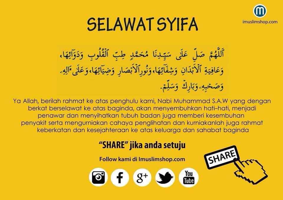 Selawat Syifa Motivasi Doa Kutipan Pengetahuan
