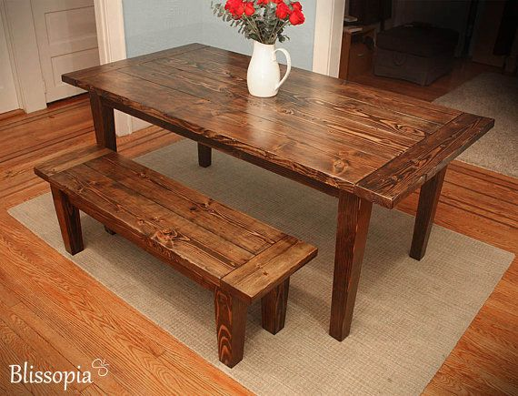Farmhouse Dining Table With Tapered Legs Rustic Harvest