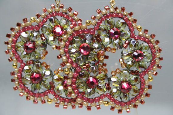 Beaded Hoop Earrings Cranberry Garden Flowers Swarovski Olive Green Bead Woven Handmade Weaving