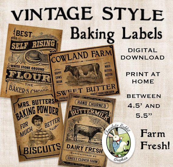 Alte Küche backen Etiketten Prim primitiven Digital-Download, die ...