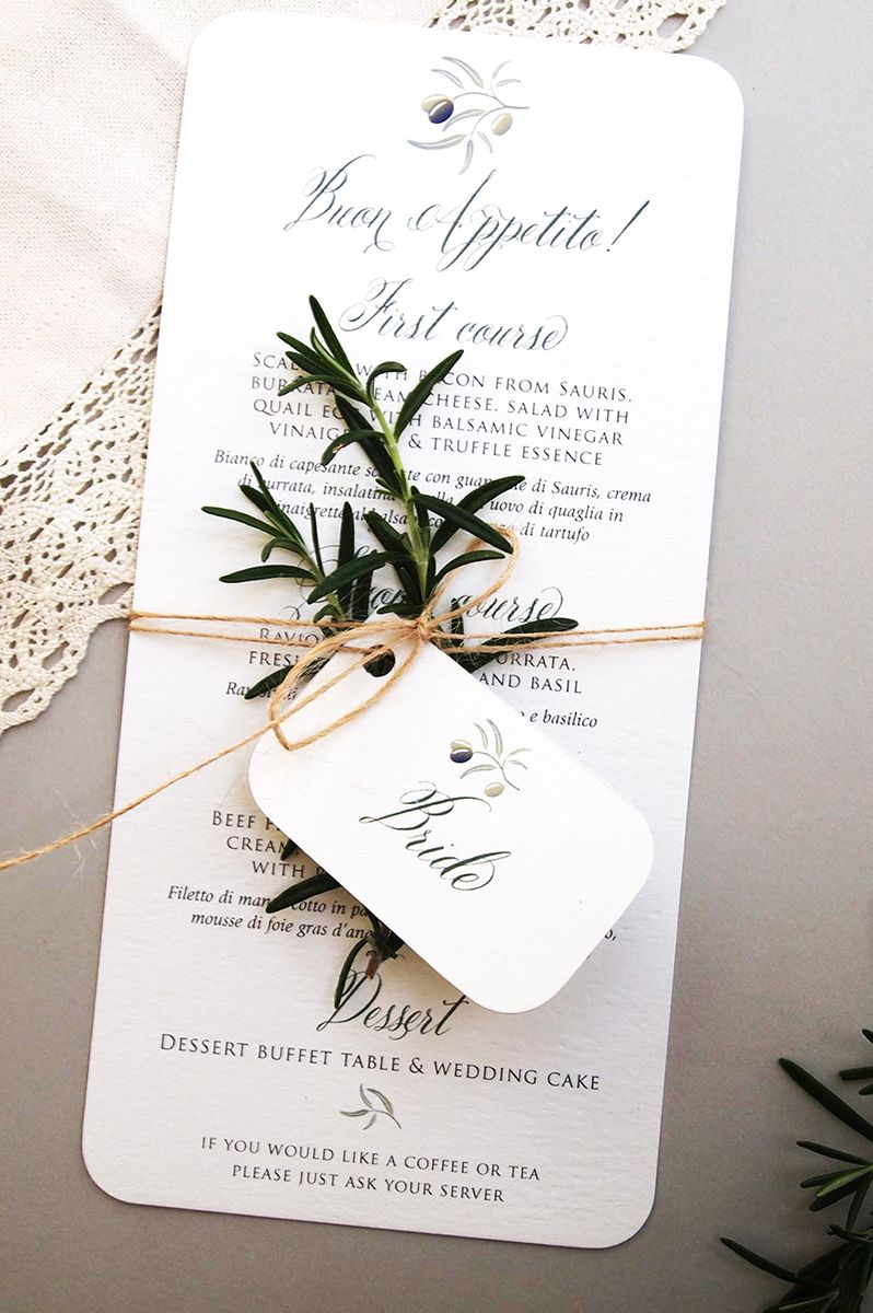 Italian wedding menu and place name card tag tied together