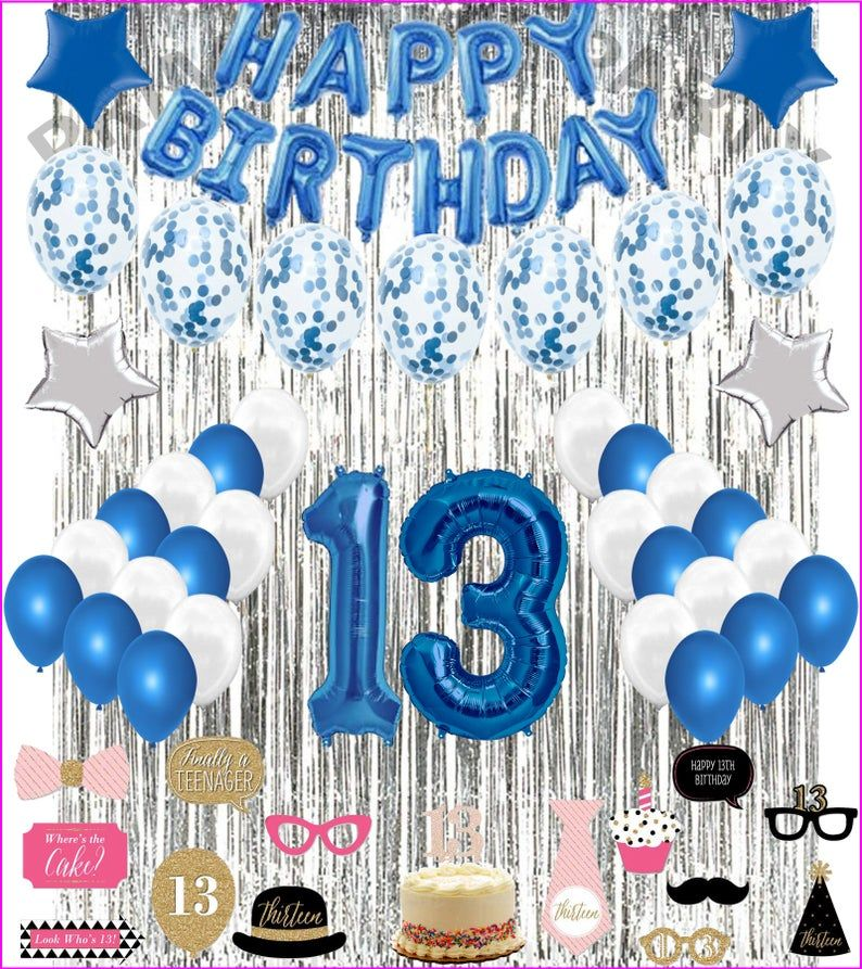 13th Birthday Decorations Party Balloons Blue White For Girls Etsy In 2021 13th Birthday Party Ideas For Girls Birthday Decorations Girl Birthday Decorations