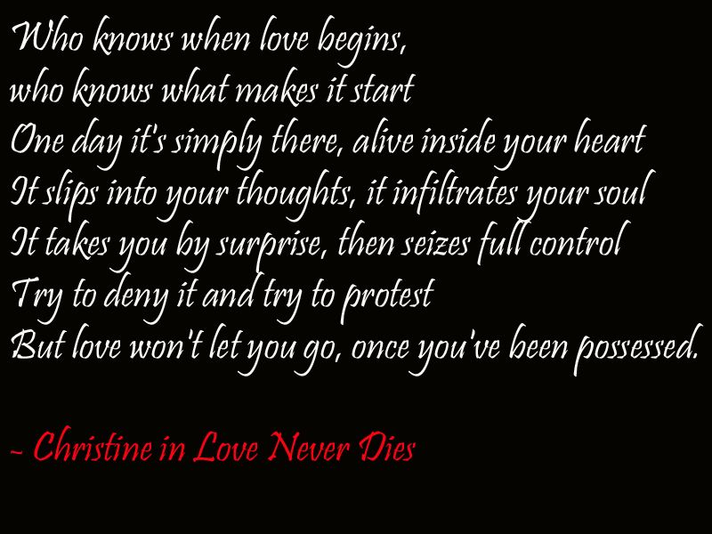 Christine Daae In Love Never Dies Musical Lyrics Quotes With