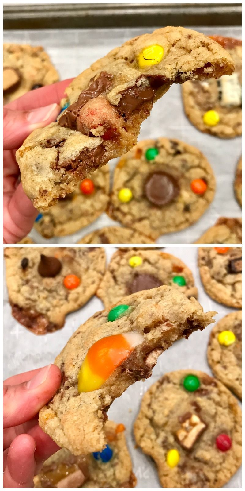 Leftover Halloween Candy Cookie Dough The BakerMama