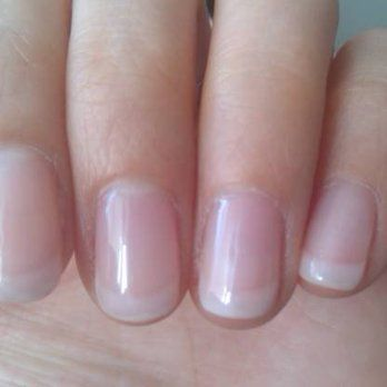 Shellac \u0027American\u0027 French manicure. Softer white colored tips with natural  pink finish.
