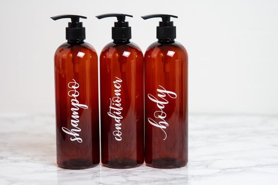 Give your bathroom that spa-like feel!  These gorgeous labelled bottles are perfect for every day use to brighten up your shower, bring to and from the gym, or throw in your suitcase for traveling near or far!Bottles will automatically come with a pump closure as shown above.  Want a disc closure?  Leave a request in the Notes to Seller at checkout!--------------------------------------------------------Details•Set includes 3 labeled bottles•Squeezable plastic bottles each hold 16 ounces•Bottles