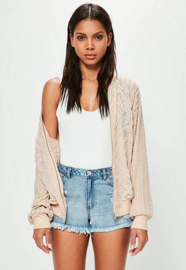 Peace + Love Nude Embellished Pearl Bomber Jacket   Missguided