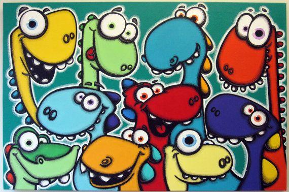Items similar to DiNO LuV - 24x36 original acrylic painting on canvas, dinosaur art on Etsy