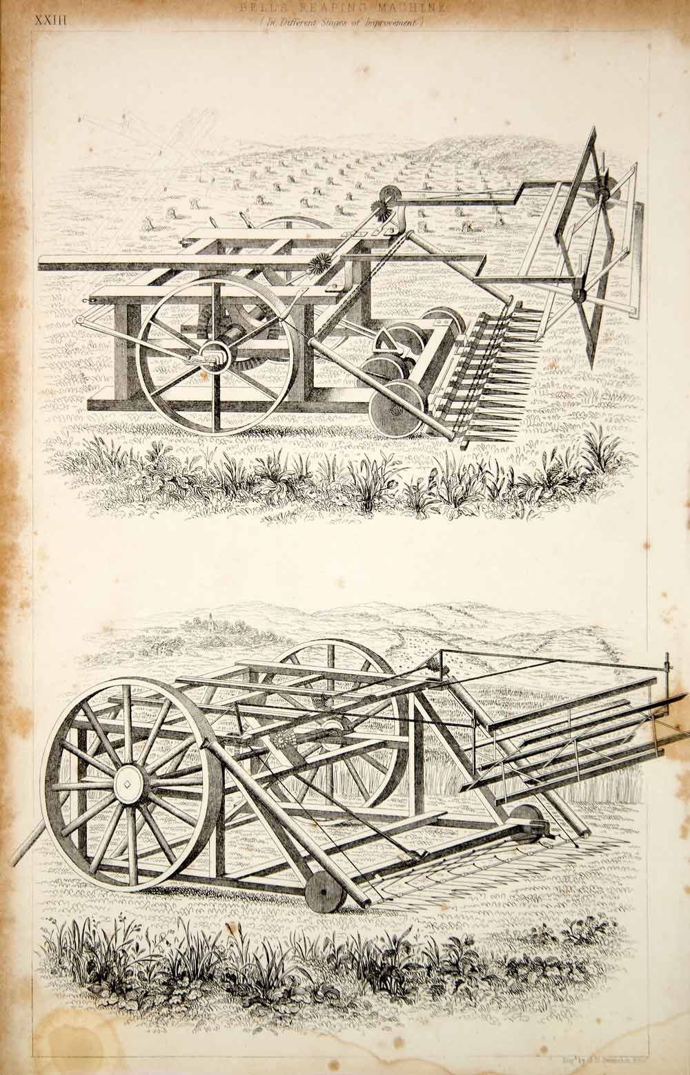 1852 Steel Engraving Antique Bell Reaping Machine Reaper Farming Agriculture FD1 - Period Paper