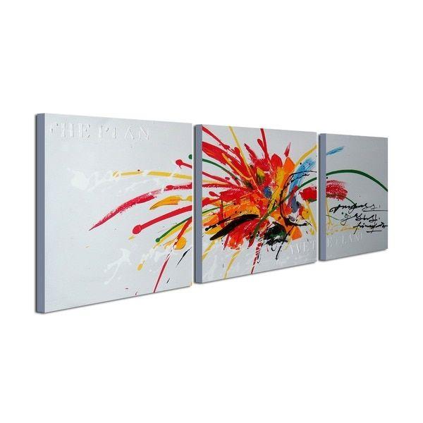 Peints à la main 'Abstract569' 3 pièces Galerie enveloppée Toile Art Set