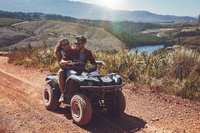 Happy Couple Riding On A Quad Bike Quad Bike Quad Off Road