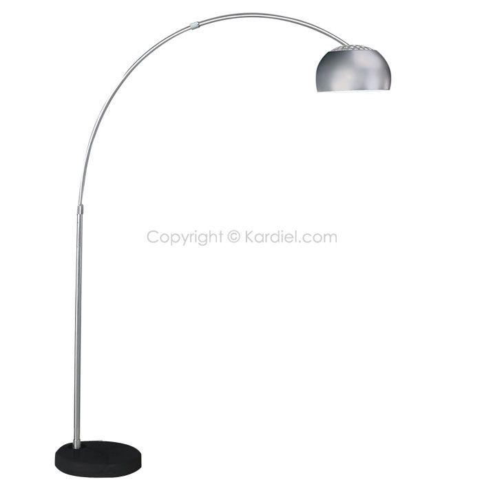 Arco Style Floor Lamp Black Marble Round Base
