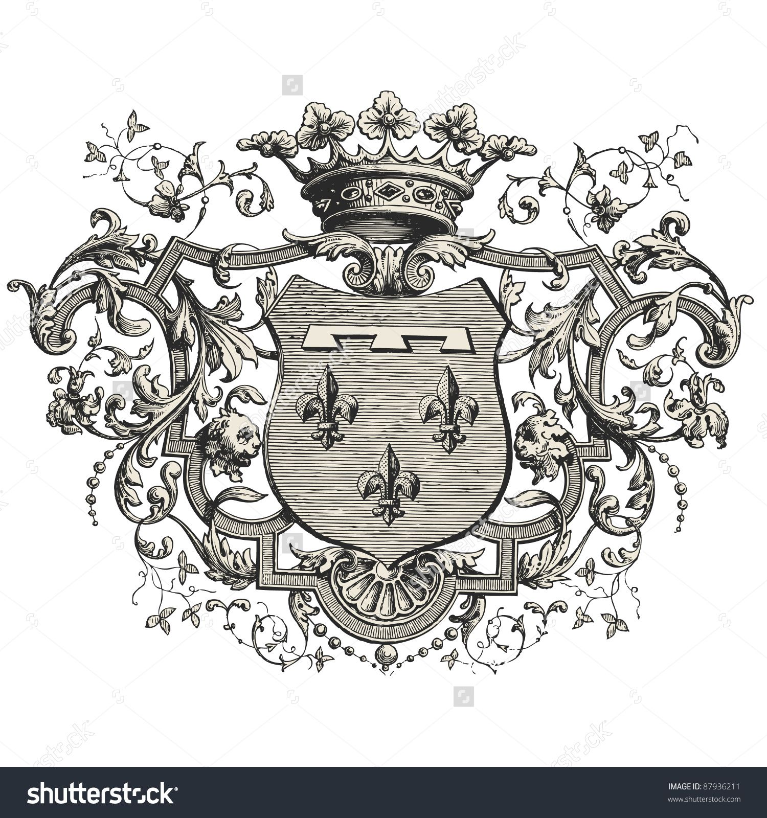 """Coat Of Arms Vintage Engraved Illustration """"Les"""