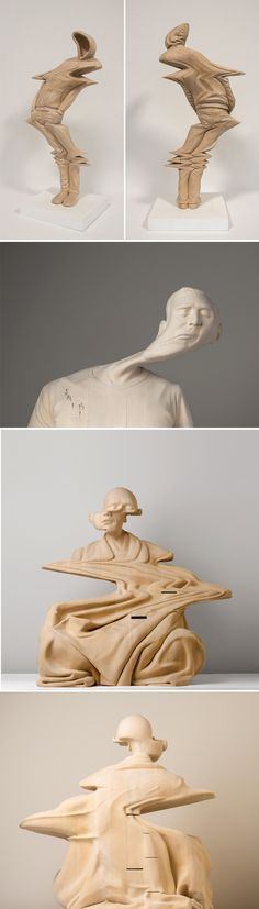Warped Human Forms Hand-Carved from Wood by Paul Kaptein