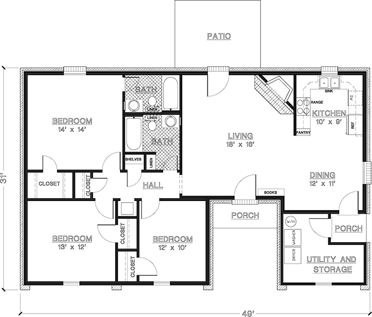 Simple one story 3 bedroom house plans for Three room house plan