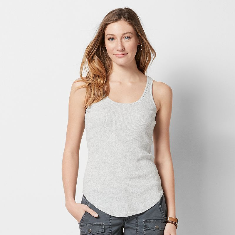 Women's SONOMA Goods for Life™ Scoopneck Ribbed Tank, Size: Medium, Light Grey