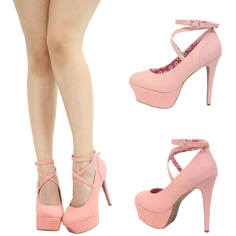 b59a74a3e497 Blush light pink strappy ankle strap high heel platform stiletto ...