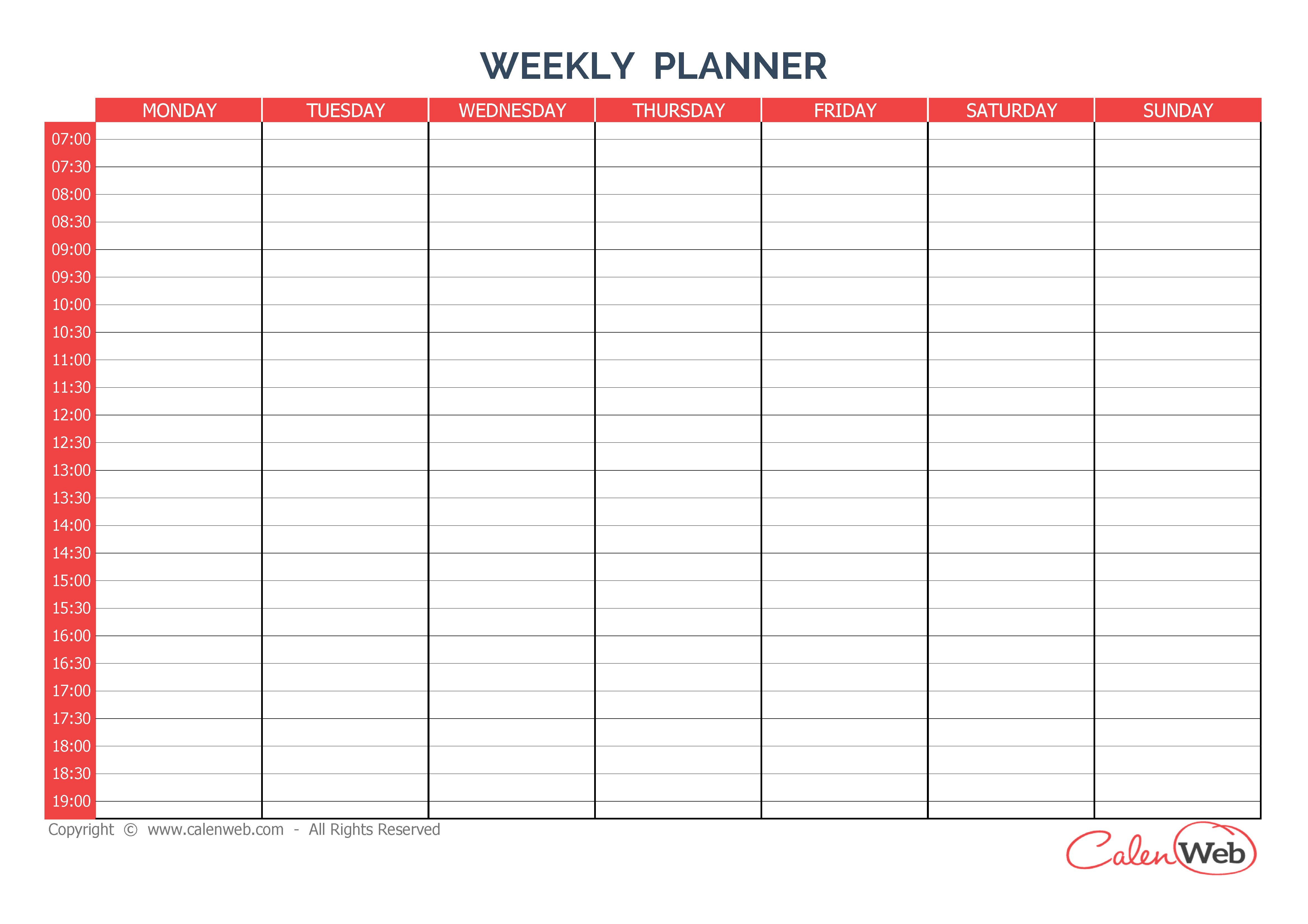 Day 7 Weekly Planner Template | Day Weekly Planner Printable ...