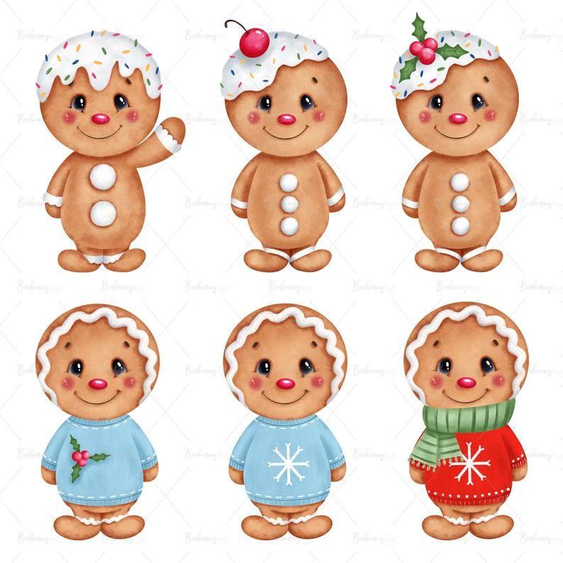 Winter Christmas Gingerbread Man Cookie Clipart Digital Etsy Christmas Gingerbread Men Christmas Gingerbread Christmas Drawing