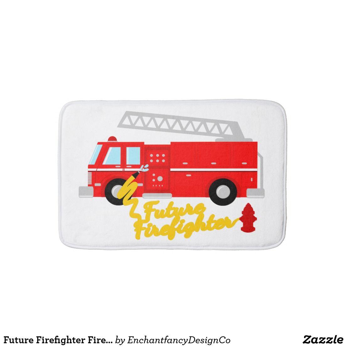 Future Firefighter Fire Truck Bath Mat