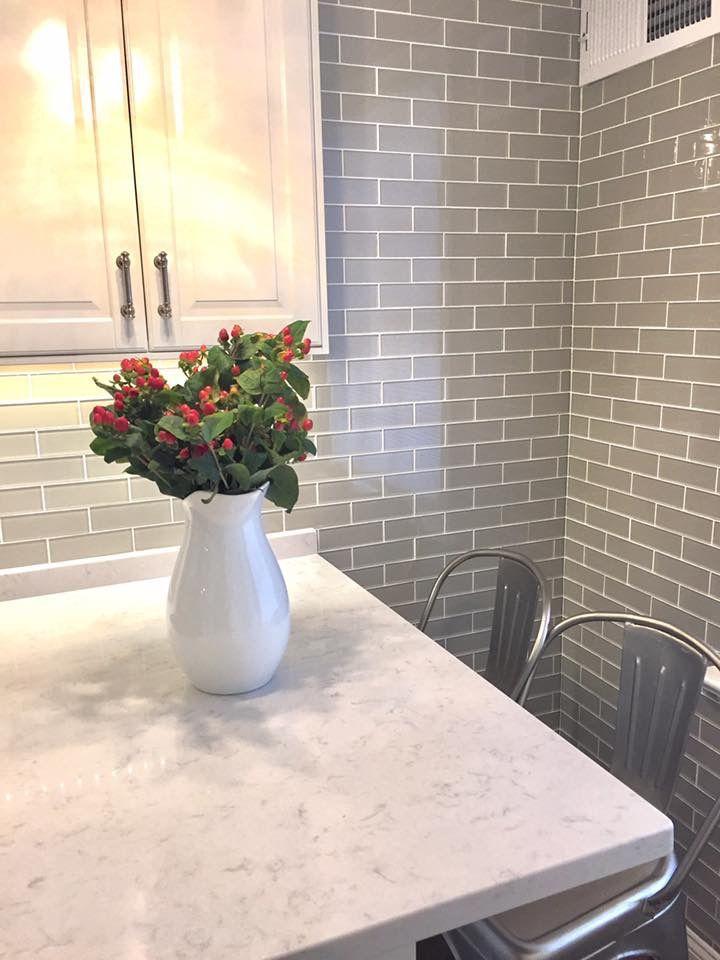 White Kitchen With Gray Glass Tile Silestone Lagoon