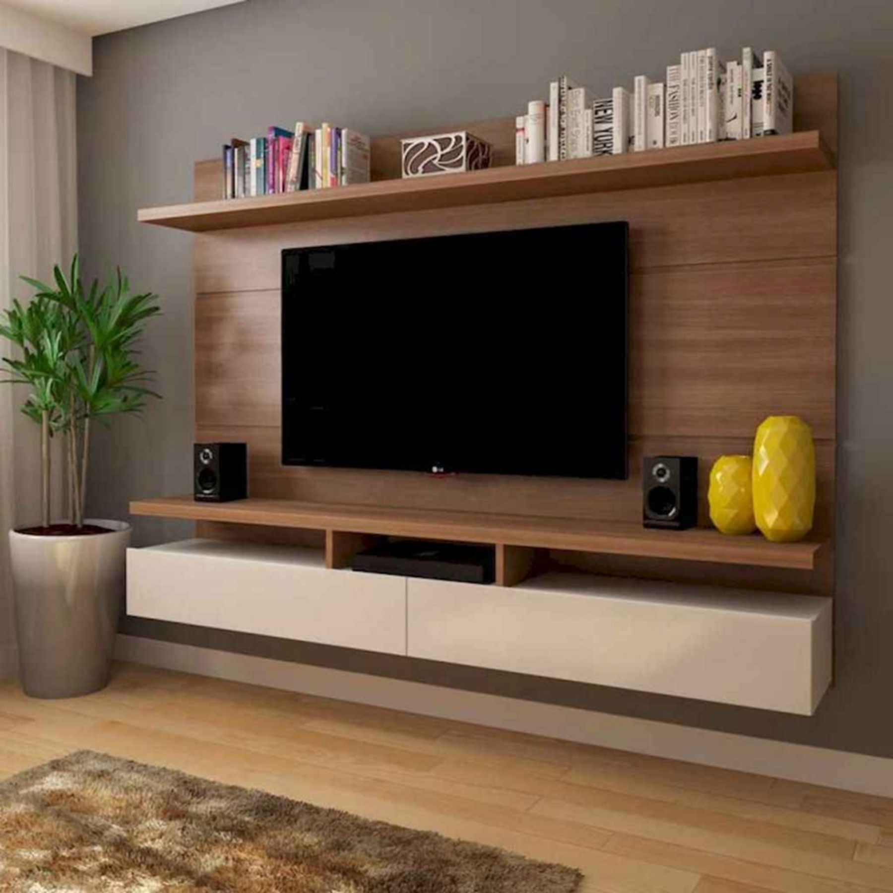 10 Minimalist Rack Tv Design Ideas For Your Living Room Bedroom Tv Wall Tv Room Design Living Room Tv Unit Designs