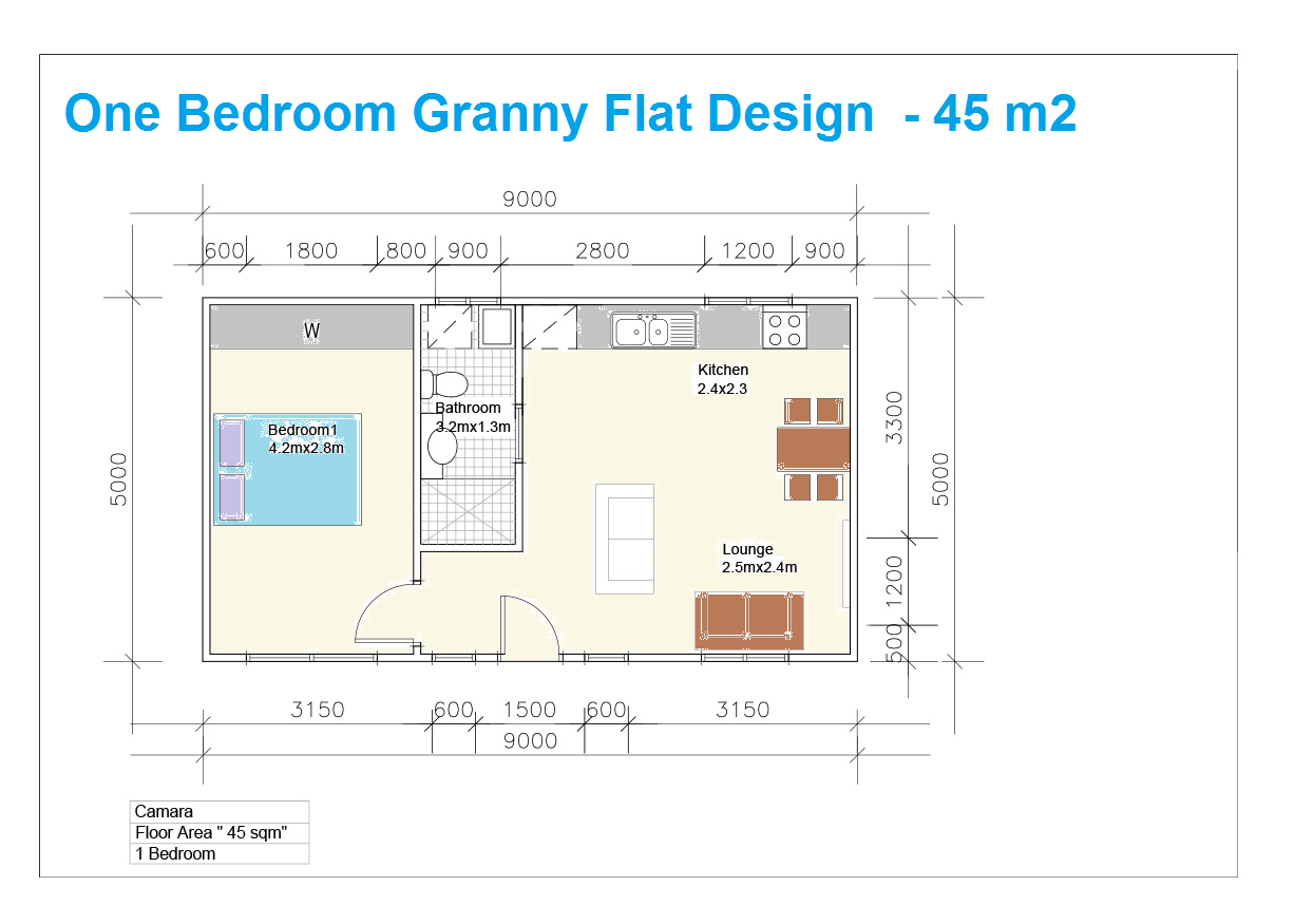 One Bedroom Granny Flat Floor Plan Designed In Sydney ~ Great Pin! For Oahu  Architectural