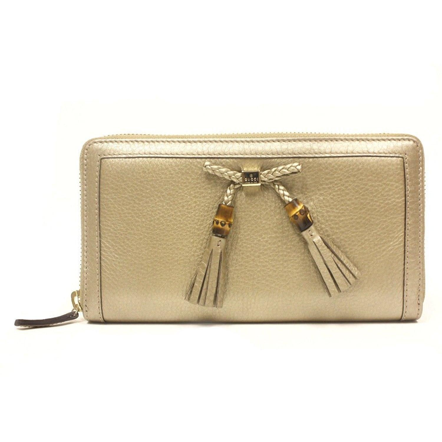 b98eb219e19a Free shipping and guaranteed authenticity on GUCCI Bamboo Tassel Tan  Metallic Leather Continental Zip Wallet 269991 at Tradesy. GUCCI Bamboo  Tassel Tan ...