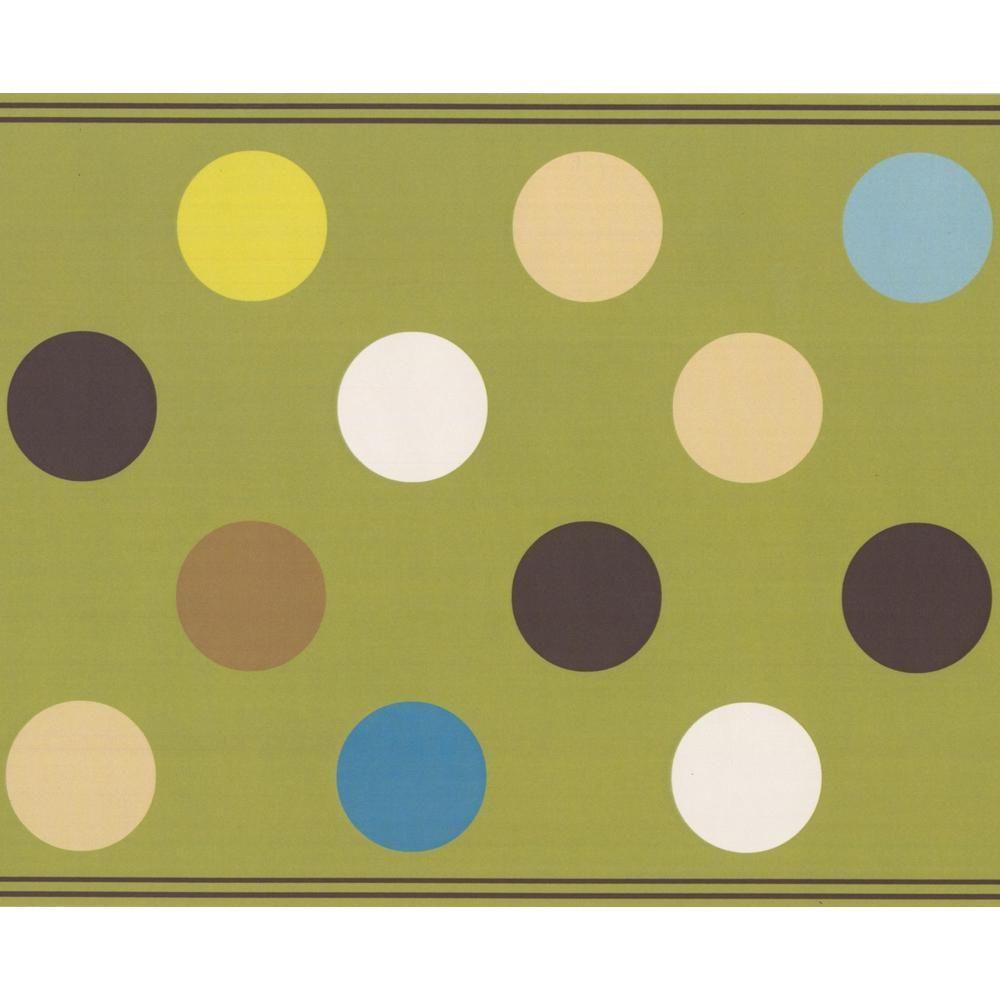 Retro Art Brown Beige Charcoal Grey Blue White Polka Dots