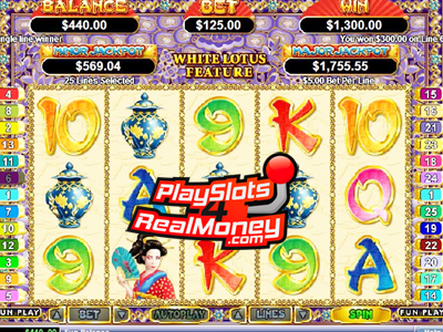Golden Lotus is a five reel, twenty-five payline Chinese / Asian themed video slot machine that is powered by Realtime Gaming (RTG) software. It is similar to Happy Golden Ox of Happiness but has a much different feel to it. Golden Lotus is a newer game than the Happy Golden Ox of Happiness and has better graphics plus bigger wins in our opinion.