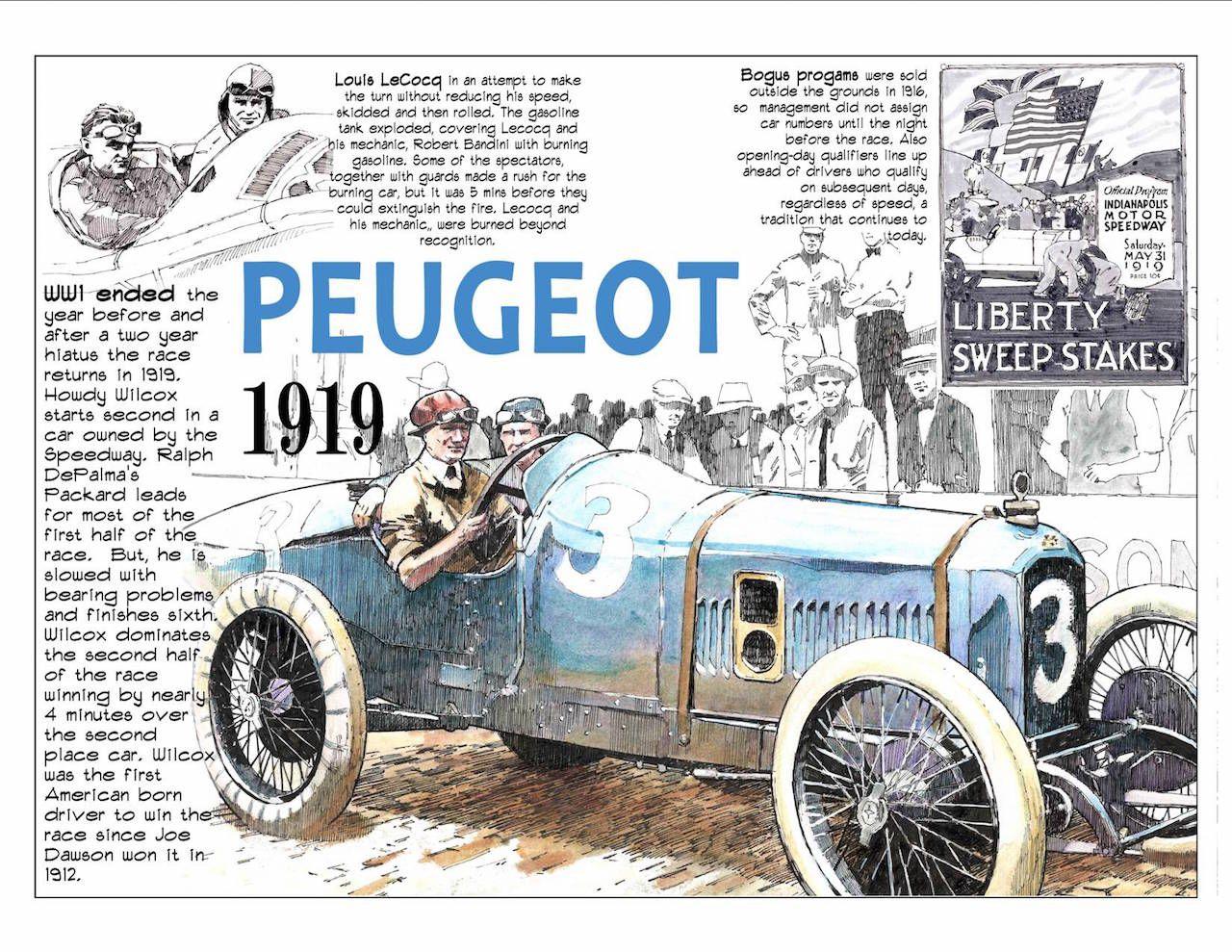 1919 indy 500 winner howdy wilcox in the peugeot race car