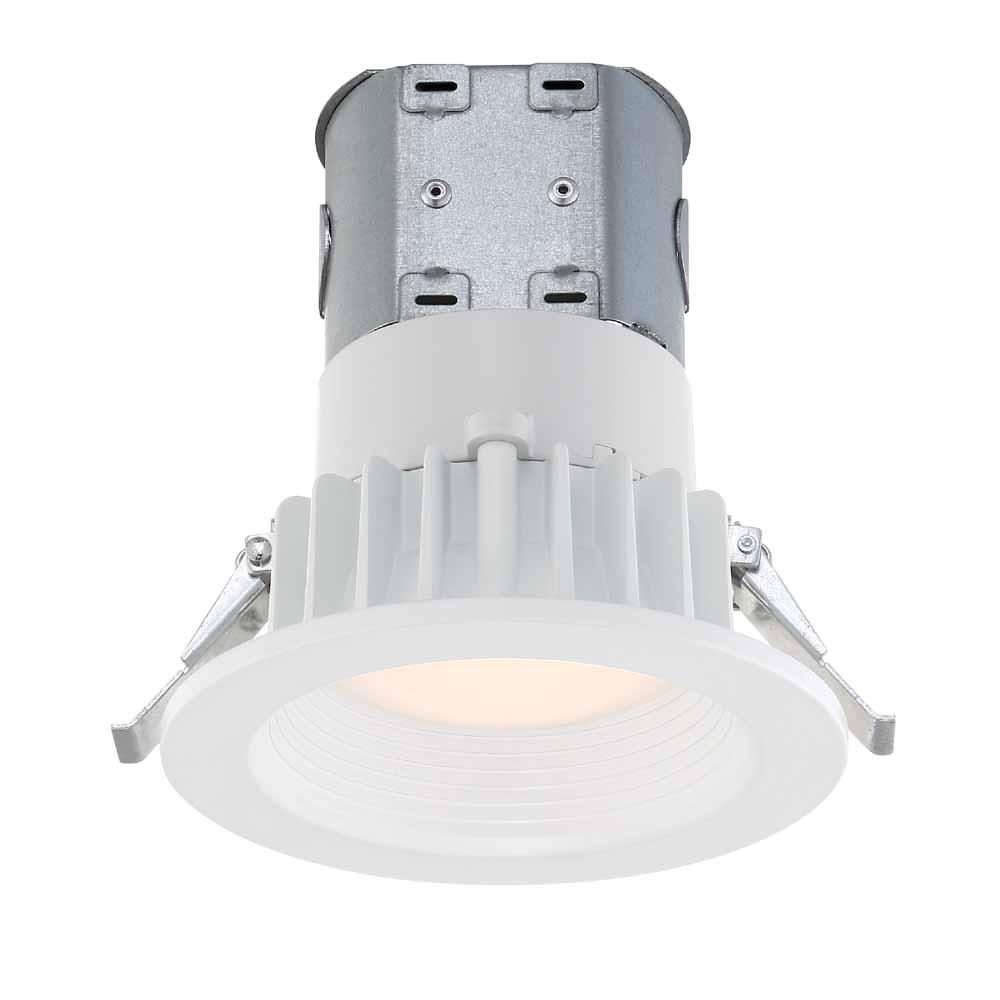 Commercial Electric Easy Up 4 In White Integrated Led Recessed Baffle Kit Cer407943wh30 Lighting Led Recessed Lighting Installing Recessed Lighting