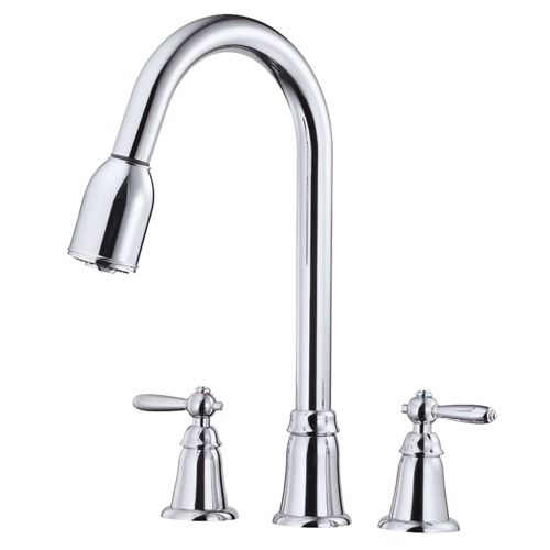 Danze Faucets   Danze 2 Handle Pull Down Kitchen Sink Faucet D417017 Chrome  Melrose Series