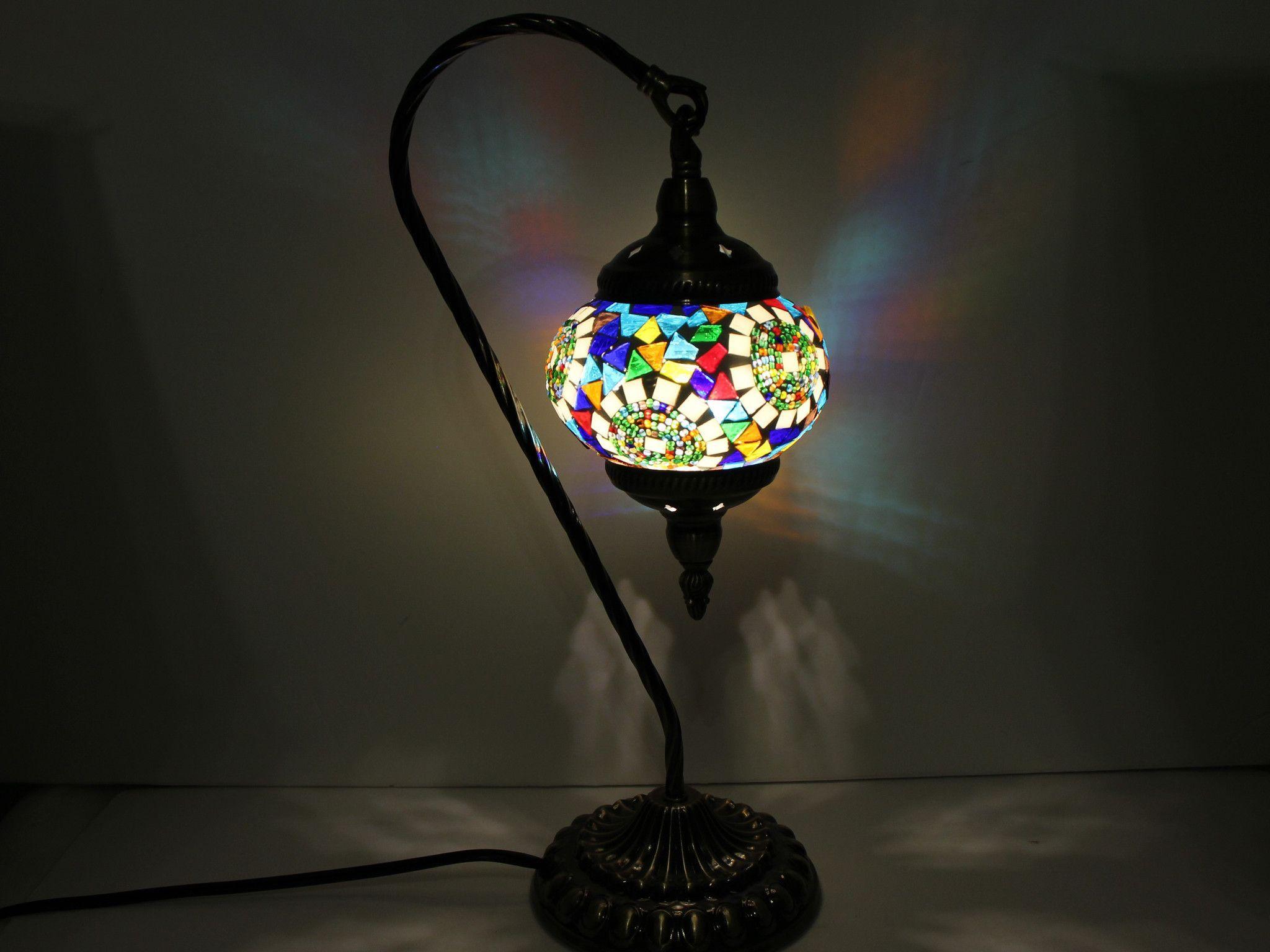 Hanging Swan Turkish Mosaic Table Lamp - ASL4
