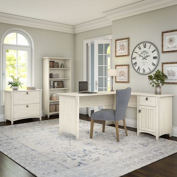Online Furniture Free Shipping: The Gray Barn Lowbridge Antique White L-shaped Desk With