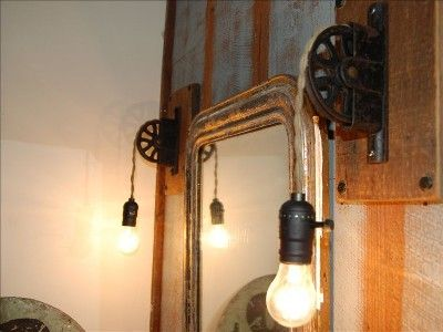 Industrial Pulley lights in bathroom - DragonFly Ranch in ...