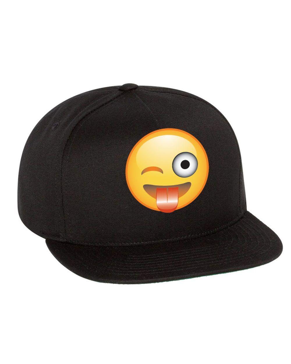 Emoji Winking Emoticon Single Color Flat Bill Cap Emoji Hat Flat Bill Cap Flat Bill Hats