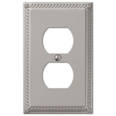 Amerelle Georgian 1-Gang Satin Nickel Standard Duplex Receptacle Metal Wall Plate