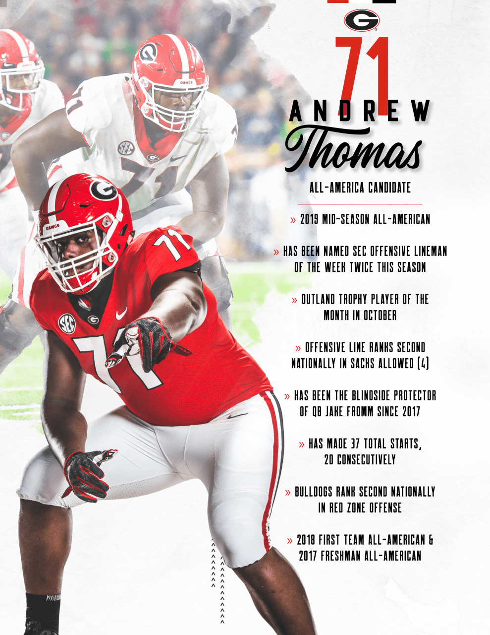 Andrew Thomas Burst On The Scene At Uga To Earn Freshman All American In 2017 In 2018 Accomplished The Feat As All Ame Georgia Bulldogs American Ncaa Football