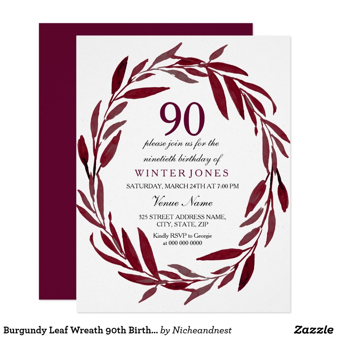 100th birthday invitations ideas kordurorddiner burgundy leaf wreath 90th birthday party invite 100th birthday invitations ideas filmwisefo
