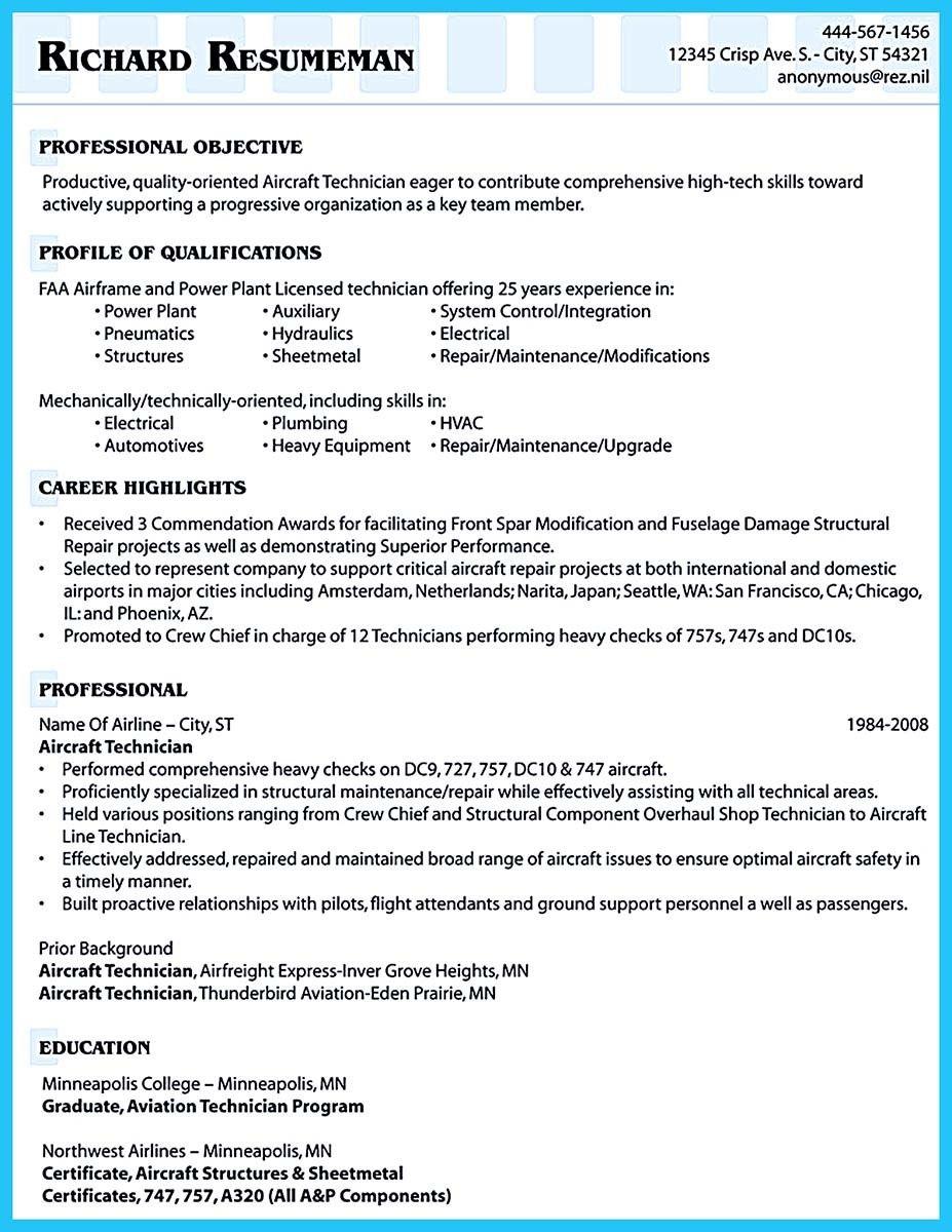 Aviation Resume Template - Professional Resume Templates •