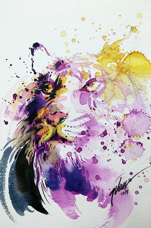 Tiger Watercolour With Gouache 13 3 X 20 Cm Original
