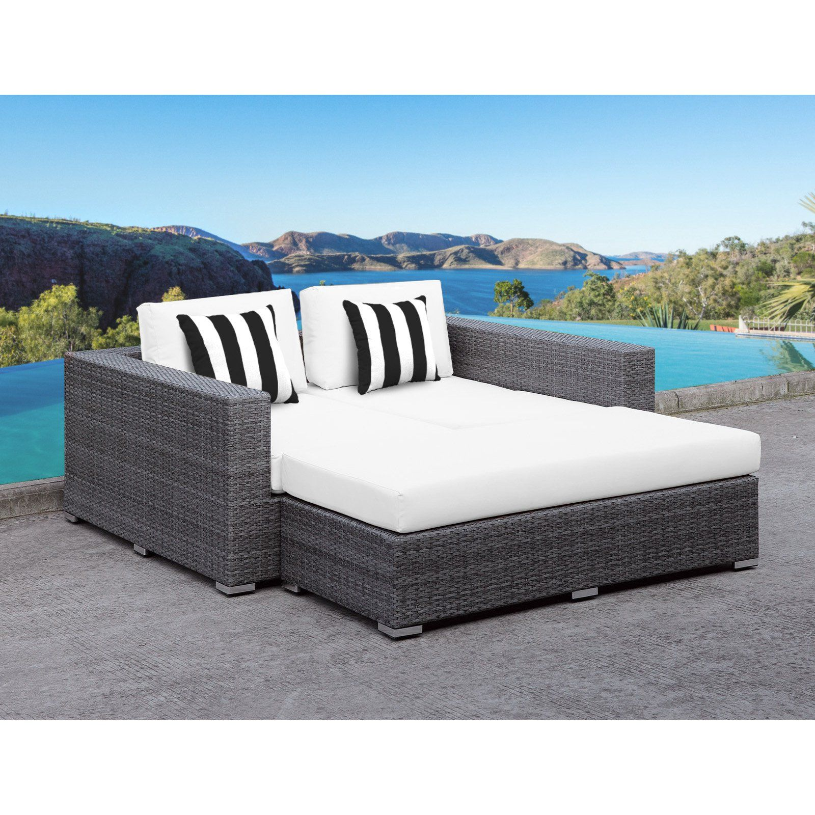Solis lusso deep seated wicker 2 piece outdoor daybed set white black white