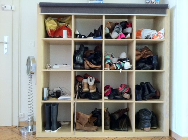 Roomy Family Shoe Storage Option Using Kallax Expedit With Roller Blind To Provide Cover Up Use Bottom Row For Kids Shoes