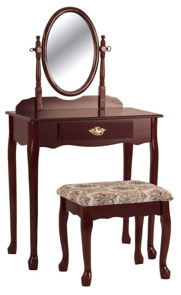 Vanity Table Set Mirror Stool Drawer Bedroom Furniture Makeup Dressing Desk  Wood