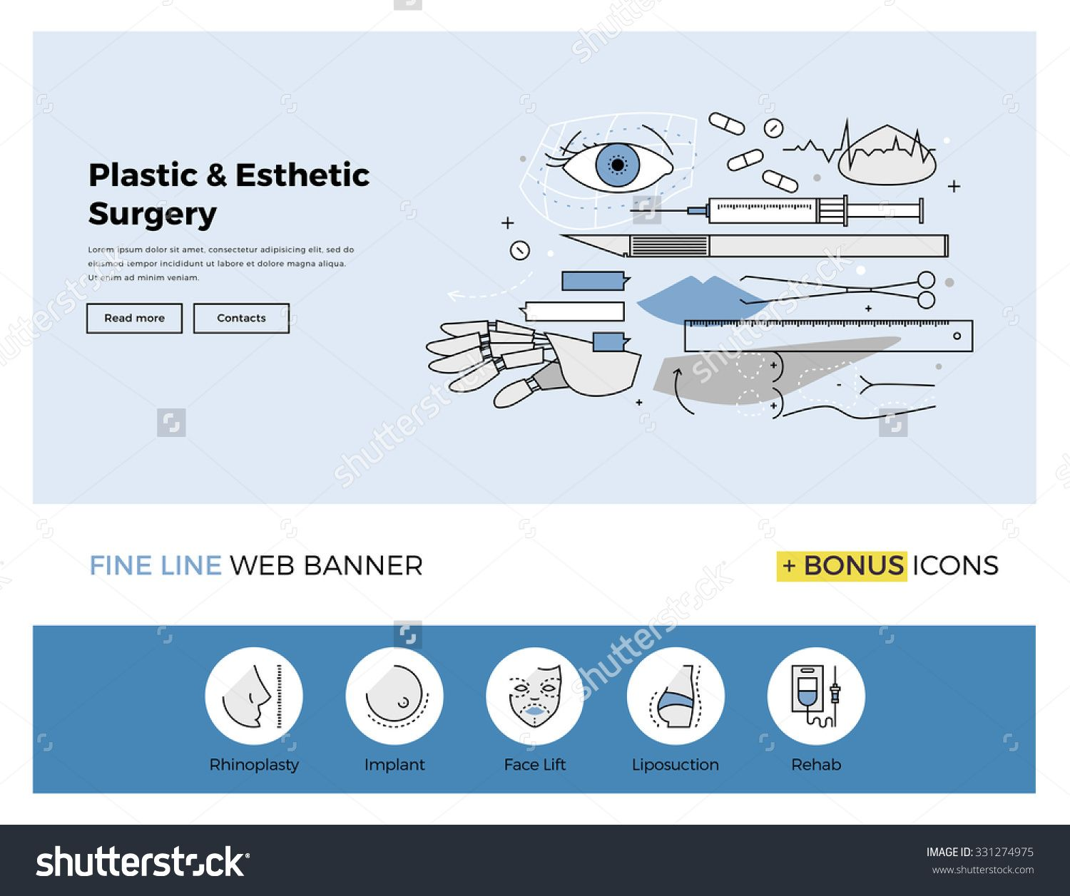 Flat Line Design Of Web Banner Template With Outline Icons Of Esthetic Plastic Surgery Decorative Body Correction And Co Web Banner Banner Template Web Design
