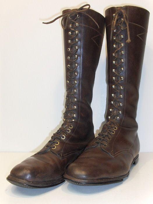 Set bruine lederen (heren) rijg- (veter) laarzen, eind 19e/vroeg 20e eeuw -  Catawiki