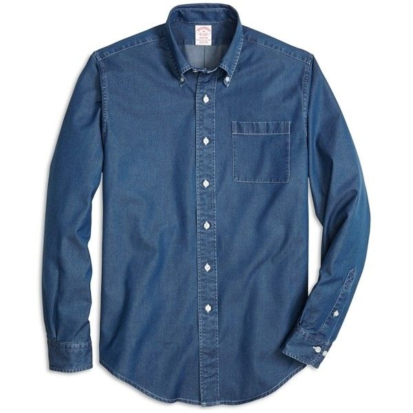 Brooks Brothers Madison Fit Button-Down Collar Denim Sport Shirt ($59) ❤ liked on Polyvore featuring men's fashion, men's clothing, men's shirts and men's casual shirts