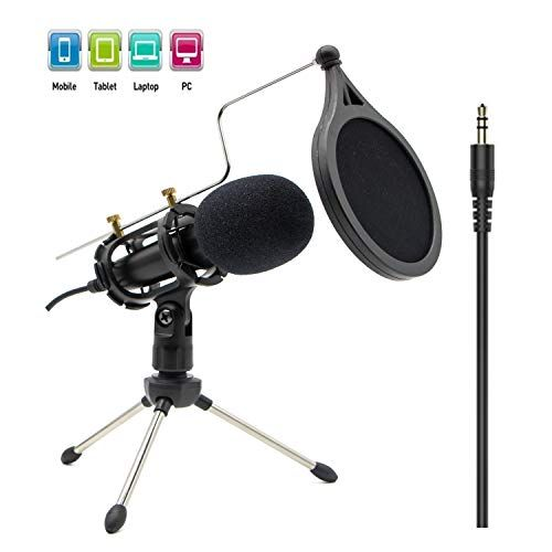 Condenser Recording Microphone 35mm Plug and Play PC Microphone Broadcast Microphone for
